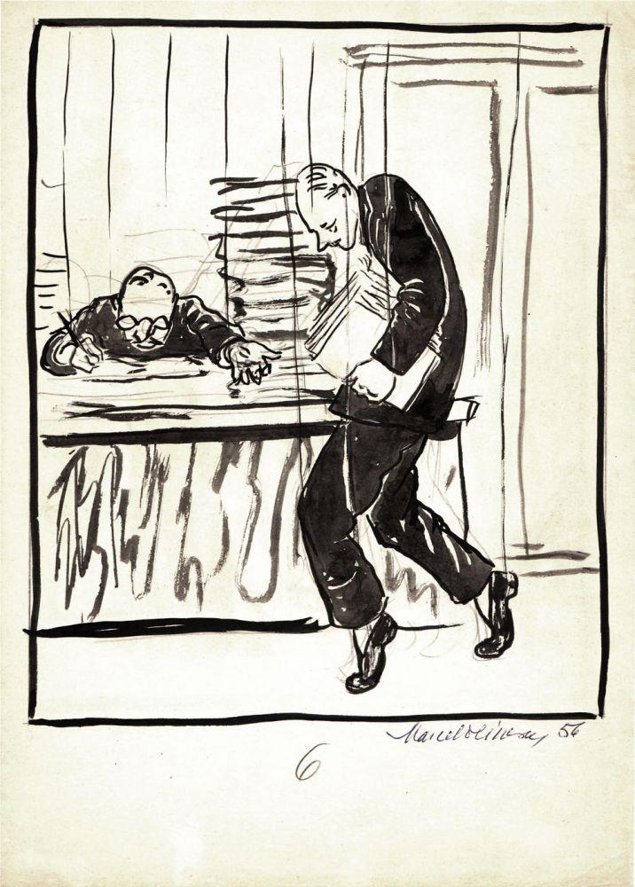 Marcel Olinescu, 6, 1956, tus pe hartie, 30x21 cm