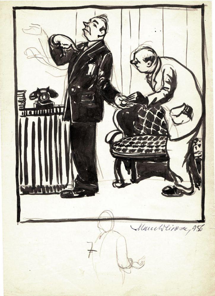 Marcel Olinescu, 7, 1956, tus pe hartie, 30x21 cm
