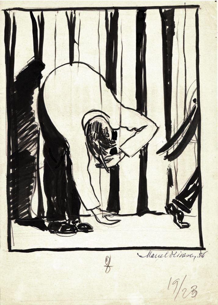 Marcel Olinescu, 8, 1956, tus pe hartie, 30x21 cm