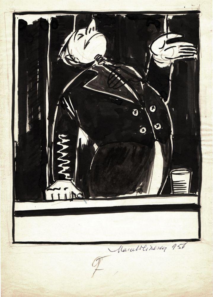 Marcel Olinescu, 9, 1956, tus pe hartie, 30x21 cm