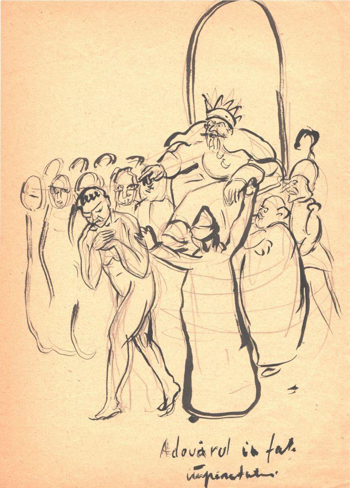 Marcel Olinescu, Adevarul in fata imparatului, tus pe hartie, 30x21 cm