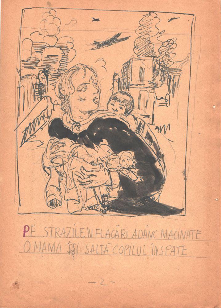 Marcel Olinescu, Balada Viorica Porumbacu, tus si creion pe hartie, 29,5x21 cm 02