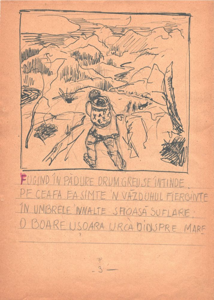 Marcel Olinescu, Balada Viorica Porumbacu, tus si creion pe hartie, 29,5x21 cm 03