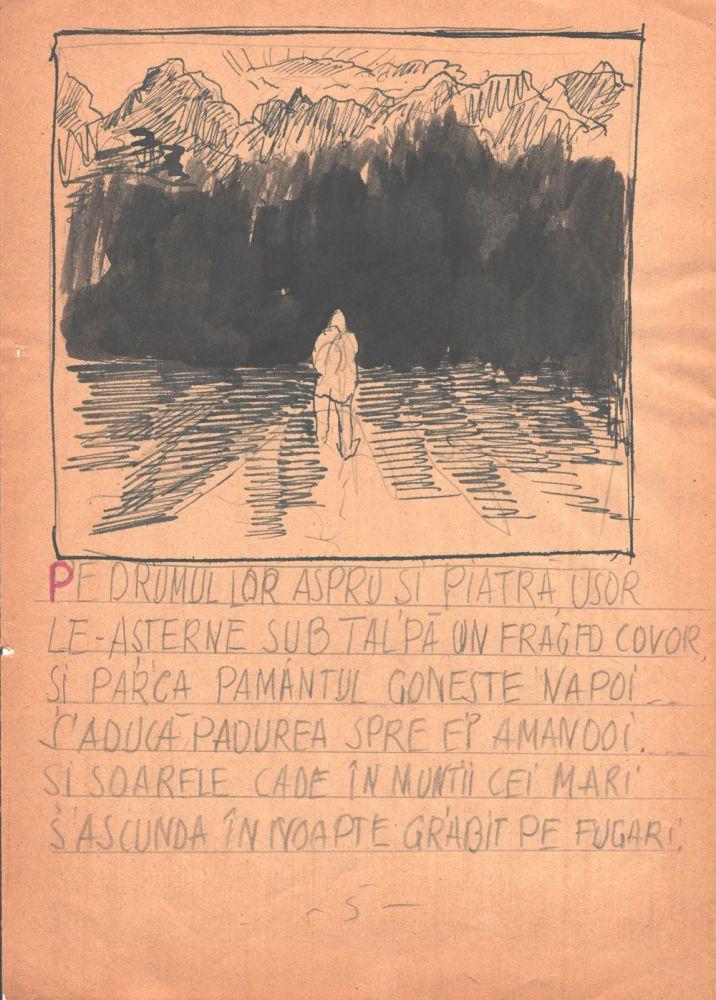 Marcel Olinescu, Balada Viorica Porumbacu, tus si creion pe hartie, 29,5x21 cm 05