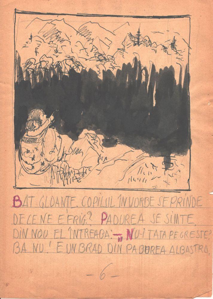 Marcel Olinescu, Balada Viorica Porumbacu, tus si creion pe hartie, 29,5x21 cm 06