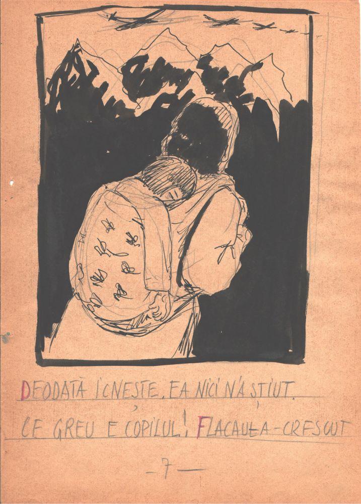 Marcel Olinescu, Balada Viorica Porumbacu, tus si creion pe hartie, 29,5x21 cm 07