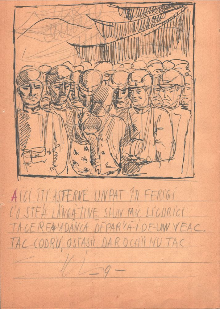 Marcel Olinescu, Balada Viorica Porumbacu, tus si creion pe hartie, 29,5x21 cm 09