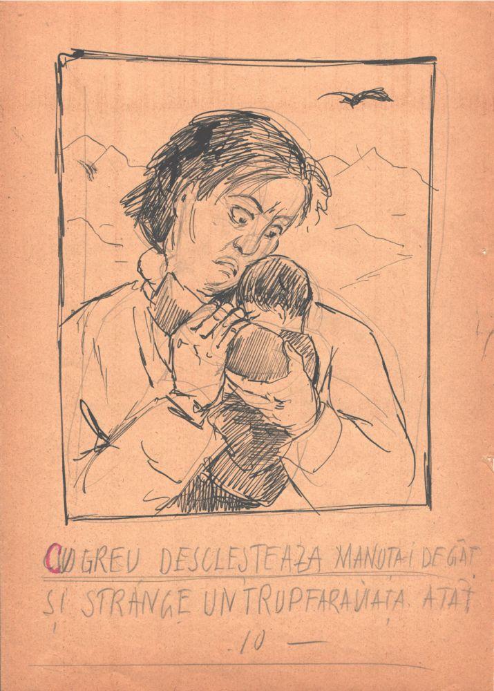Marcel Olinescu, Balada Viorica Porumbacu, tus si creion pe hartie, 29,5x21 cm 10
