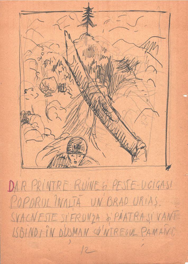 Marcel Olinescu, Balada Viorica Porumbacu, tus si creion pe hartie, 29,5x21 cm 12
