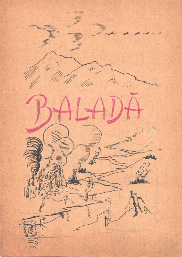 Marcel Olinescu, Balada Viorica Porumbacu, tus si creion pe hartie, 29,5x21 cm coperta interioara 2