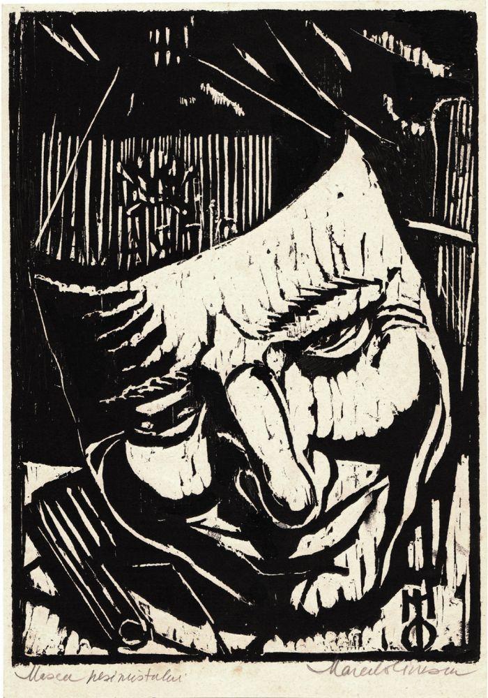 Marcel Olinescu, Masca pesimistului, xilogravura, 23,5x16,5 cm