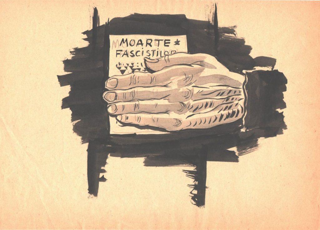 Marcel Olinescu, Moarte fascistilor, tus pe hartie, 30x21 cm