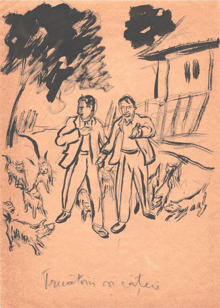 Marcel Olinescu, Trecatori si catei, tus pe hartie, 30x21 cm