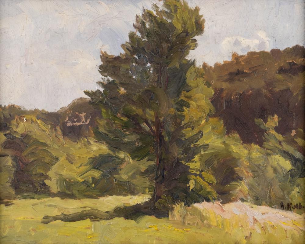Alois Kolb, By the forest, oil on cardboard, 26.5 x 33 cm (F. 29 x 36.5 cm), prov Hargesheimer Kunstauktionen Düsseldorf