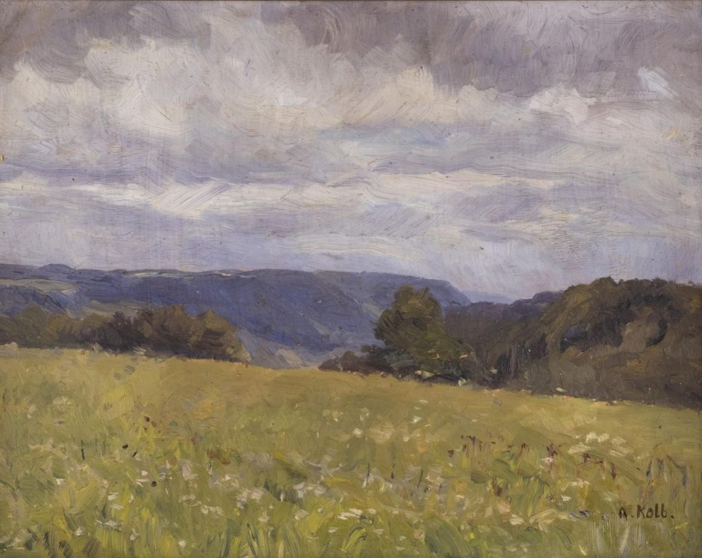 Alois Kolb, Vast summer landscape, oil on cardboard. 27 x 35.5 cm (F. 34 x 42 cm), prov Hargesheimer Kunstauktionen Düsseldorf