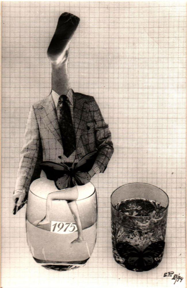 Sașa Pană, Fotocolaj cu dedicație pe spate de la Sașa Pană pentru George Macovescu, 1974, 27X22 cm, detaliu