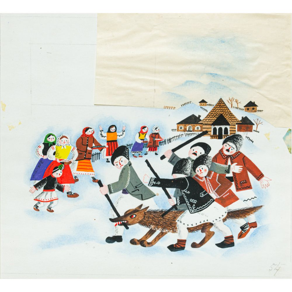 Lena Constante, Vulpea în sat, acuarelă și colaj pe hârtie, 19.5 x 20.8 cm (1)