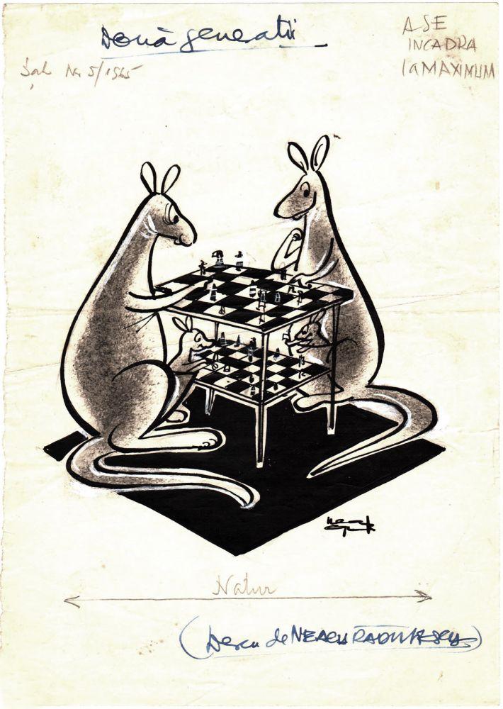 Neagu Rădulescu, Două generații, publicat în Sah nr 5, 1965, tus pe hartie, 21x15 cm