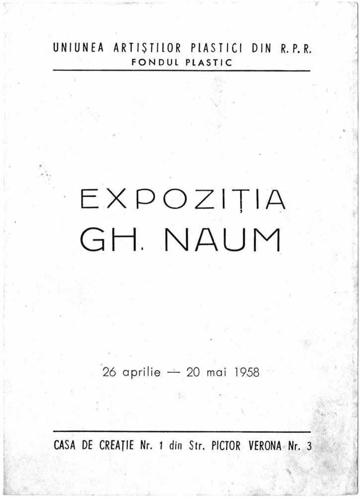 Pliant expo Gheorghe Naum, UAP din RPR, Casa de creatie nr 1, 1958