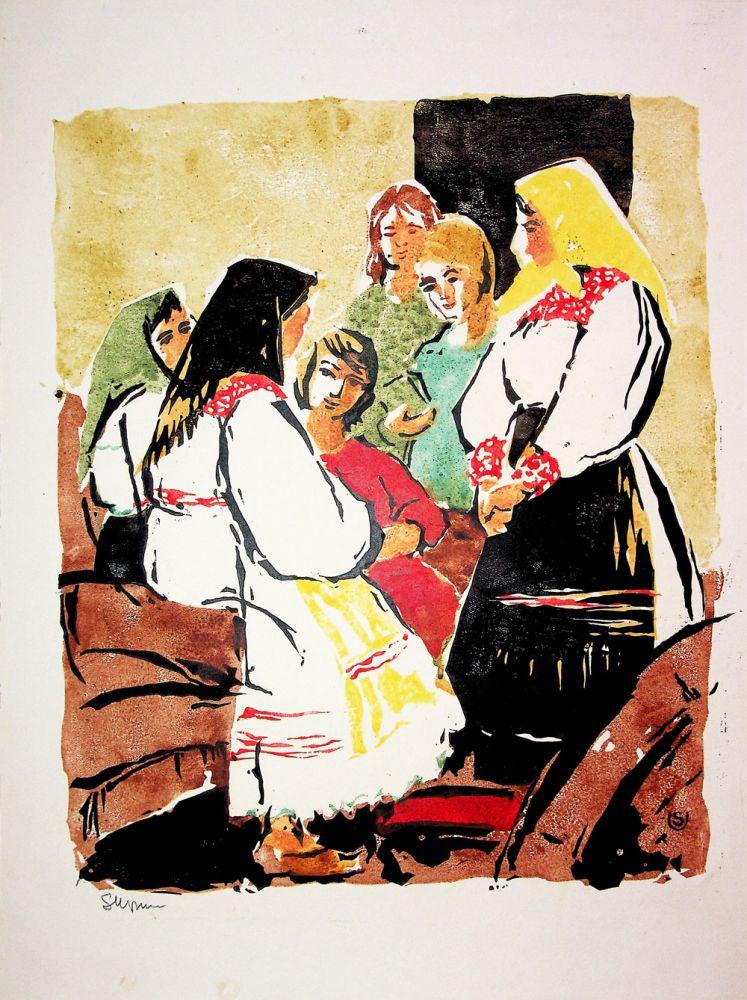 Sofia Uzum, La șezătoare, xilogravură 42x32 cm