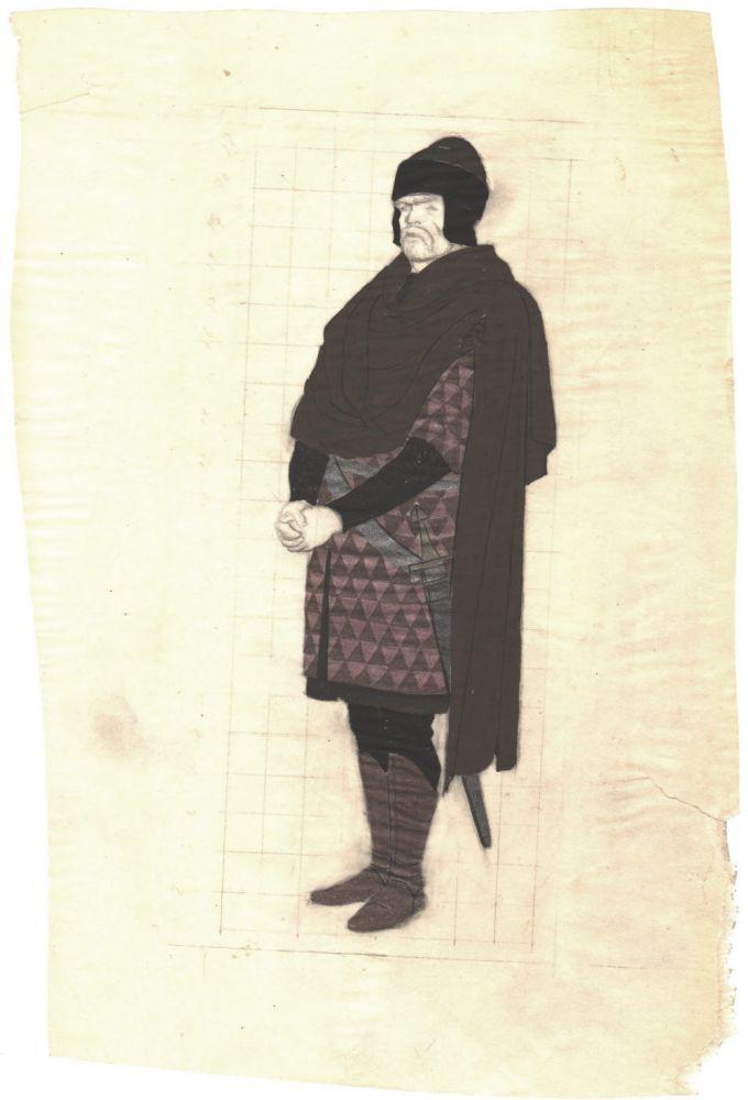 Elena Patrascanu, Schita pentru piesa Vlaicu Voda a lui Alexandru Davila, Teatrul National Bucuresti din 1982, 24x16 cm