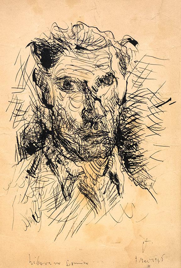 """George Tomaziu (1915-1990) - """"Autoportret"""", tuș, 31x21.5cm, semnat dreapta jos în monogramă, datat 4 martie 1945"""